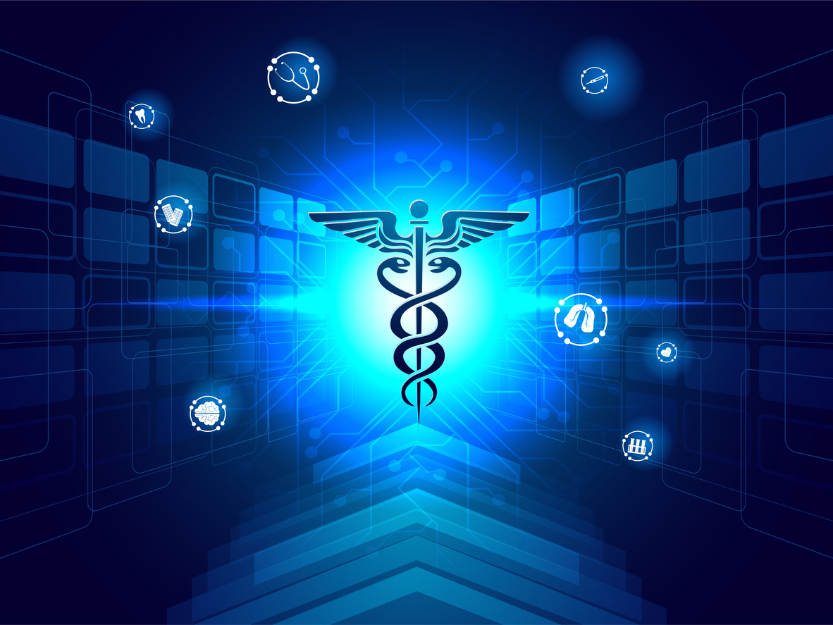 Medical biotechnology innovation concept, illustration of caduceus symbol for medical services app on shiny blue sci-fi background